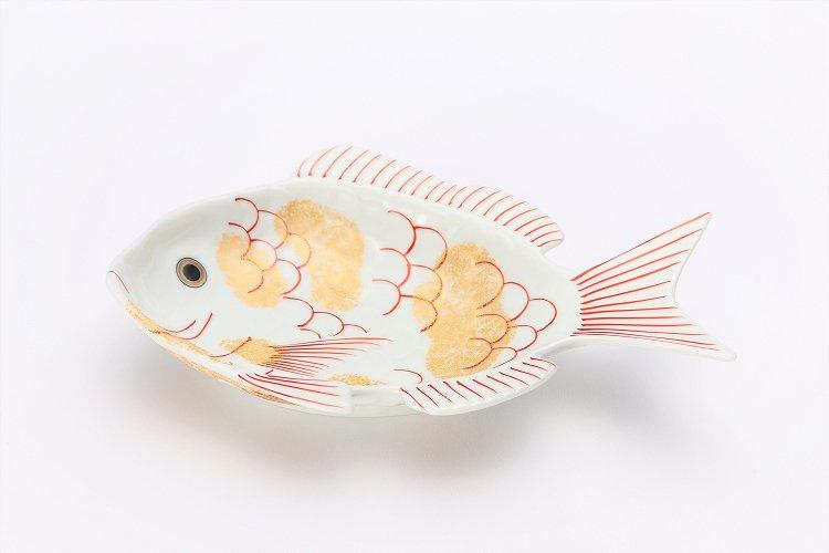 幸楽窯 錦金たたき鯛形向付 画像メイン