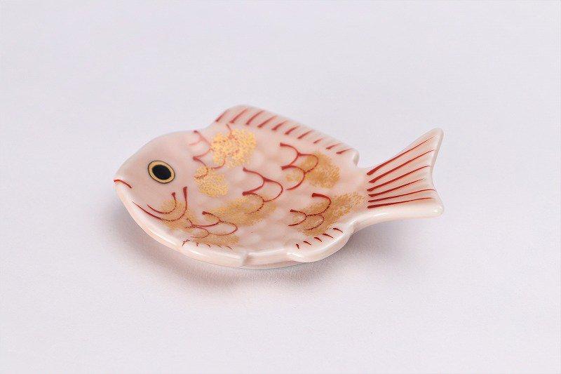 幸楽窯 錦ピンク釉金たたき鯛形箸置き 画像メイン