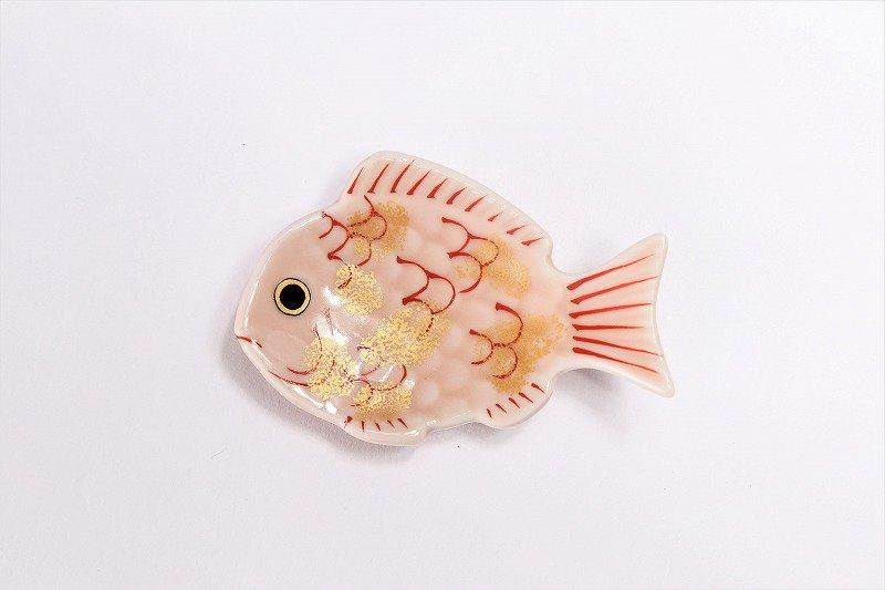 幸楽窯 錦ピンク釉金たたき鯛形箸置き 画像サブ2