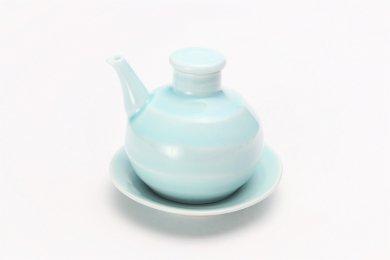 康創窯 薄青磁 汁次(台皿付)