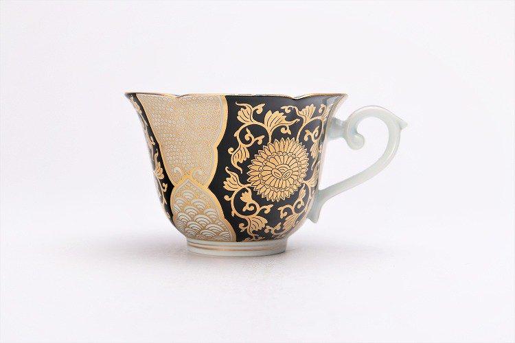 徳幸窯 黒地金彩菊華紋紅茶碗 画像サブ3