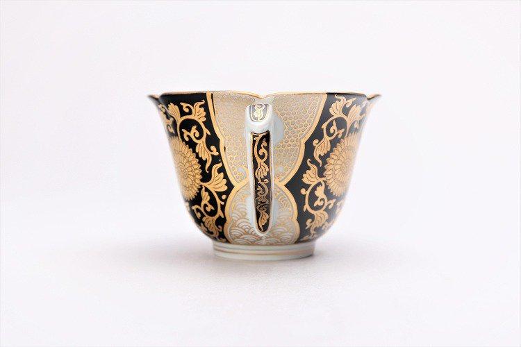 徳幸窯 黒地金彩菊華紋紅茶碗 画像サブ4