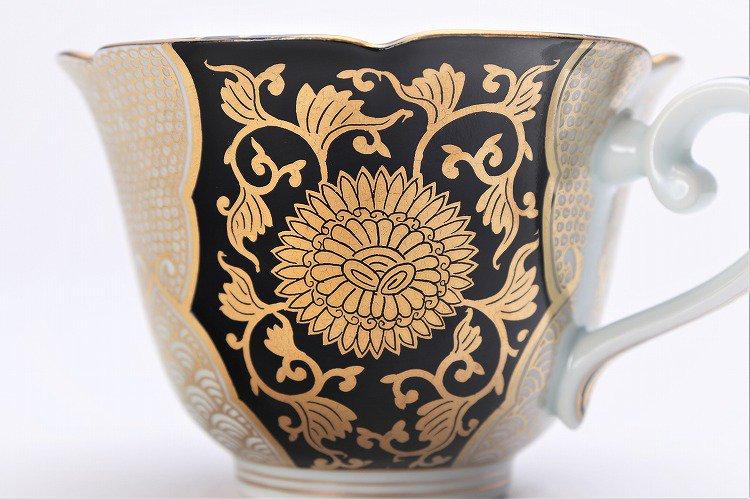 徳幸窯 黒地金彩菊華紋紅茶碗 画像サブ6