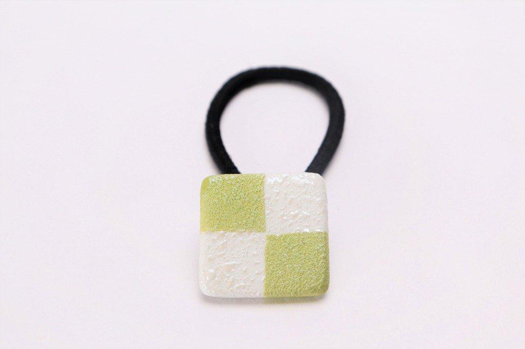 楽々シリーズ 市松(緑) ヘアゴム(小)