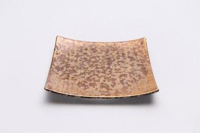 金善窯 正角菓子皿(小) ウロコ金
