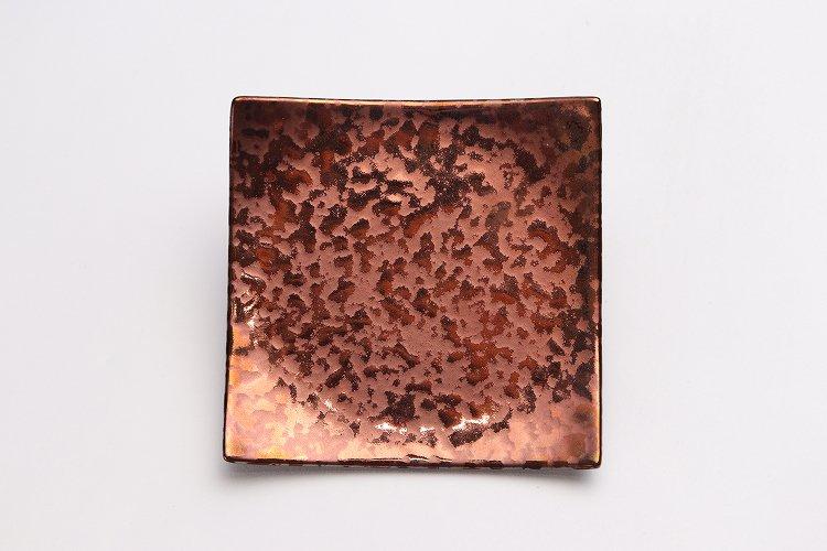 金善窯 正角菓子皿(小) ウロコ銅 画像サブ2
