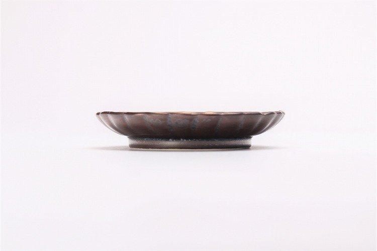 陶悦窯 黒柚子金塗り 菊小皿 画像サブ1