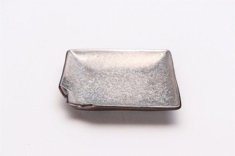 陶悦窯 黒柚子銀塗り 折紙小皿 画像メイン