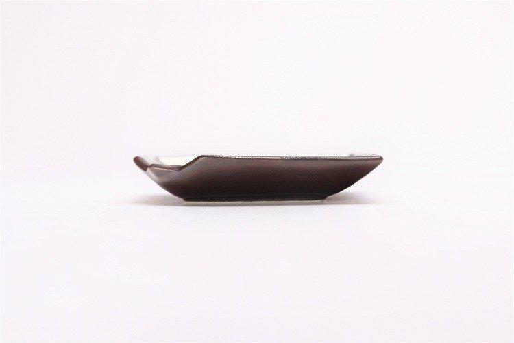 陶悦窯 黒柚子銀塗り 折紙小皿 画像サブ1