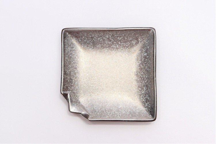 陶悦窯 黒柚子銀塗り 折紙小皿 画像サブ2