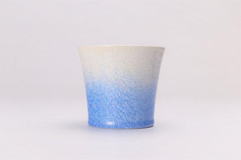 真右ェ門窯 手造り 藍染ロックカップ(たて) 木箱付 画像サブ1