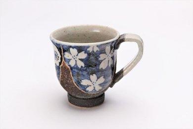 洸彩窯 四季の花(青) マグカップ