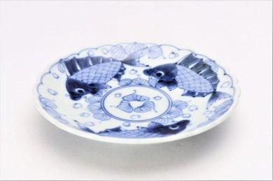 伯父山窯 魚紋桔梗渕6寸皿