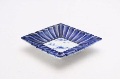 伯父山窯 渕濃山水菊割菱型小皿