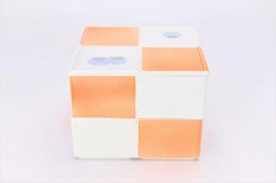 献上点心 オレンジ市松正角二段箱