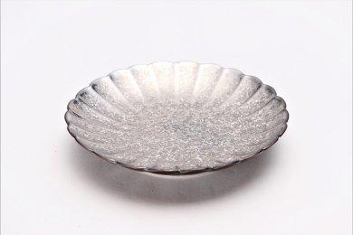 陶悦窯 黒柚子内銀塗り 菊4.5寸皿