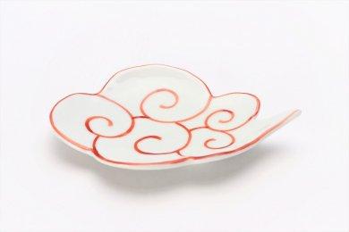 伝平窯 赤筋斗雲(描き) 雲型銘々皿
