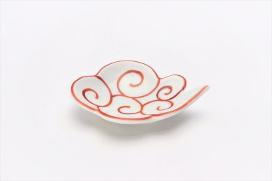 伝平窯 赤筋斗雲(描き) 雲型豆小皿