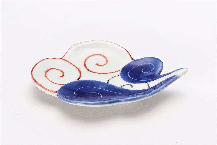 伝平窯 染朱雷雲 雲型銘々皿 画像メイン
