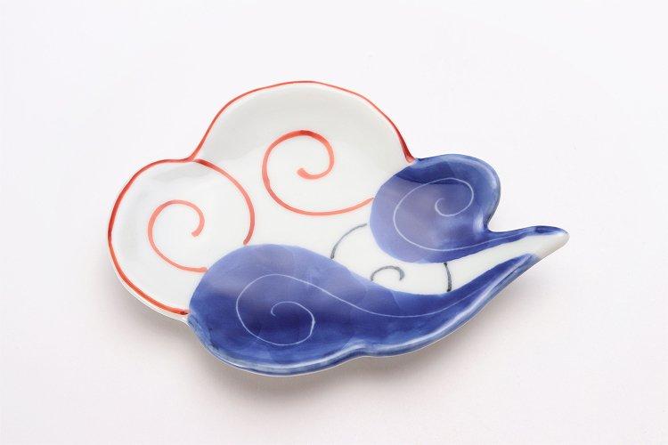 伝平窯 染朱雷雲 雲型銘々皿 画像サブ2
