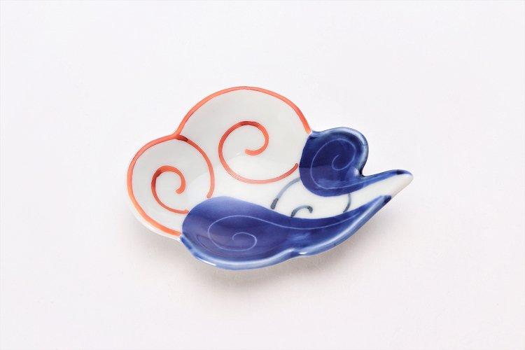 伝平窯 染朱雷雲 雲型豆小皿 画像サブ2