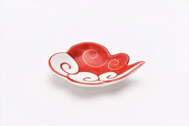 伝平窯 赤流雲 雲型豆小皿 画像メイン