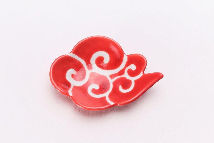 伝平窯 赤釉筋斗雲 雲型豆小皿 画像サブ2