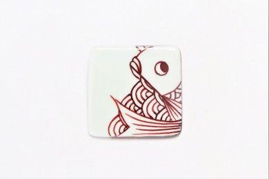 楽々シリーズ 青海波鯛(赤) ブローチ(大)