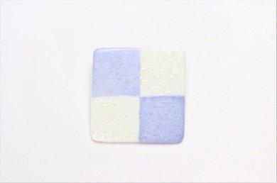 楽々シリーズ 市松(青) ブローチ(大)