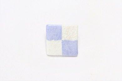 楽々シリーズ 市松(青) ブローチ(小)