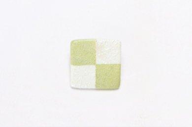 楽々シリーズ 市松(緑) ブローチ(小)