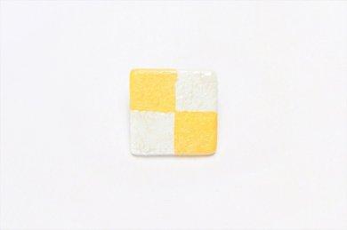 楽々シリーズ 市松(黄) ブローチ(小)
