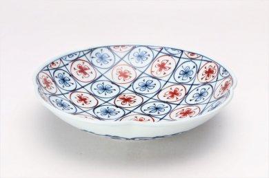 亮秀窯 紺朱古代丸紋 7寸鉢