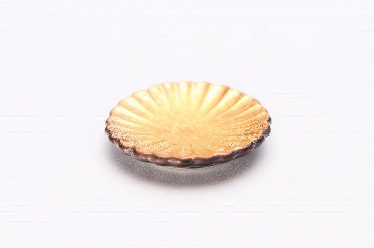陶悦窯 黒柚子金塗り 菊豆箸置き 画像メイン