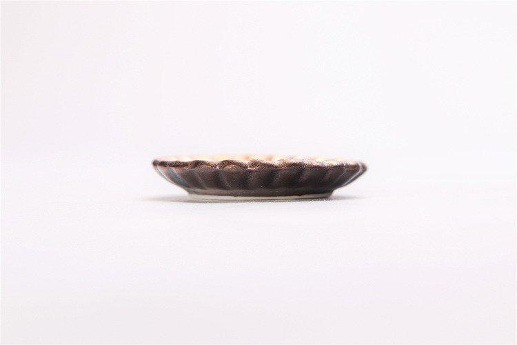 陶悦窯 黒柚子金塗り 菊豆箸置き 画像サブ1