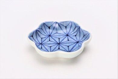 【オリジナル】麻の葉濃 菊型小皿