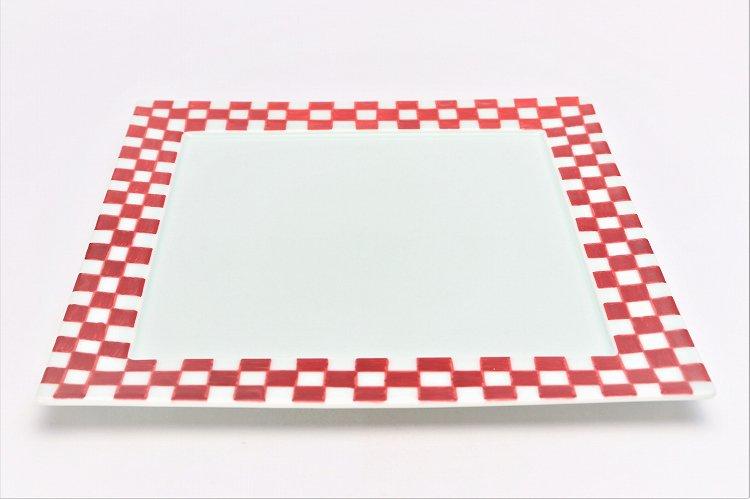 赤ゴス市松 25cm角プレート 画像メイン