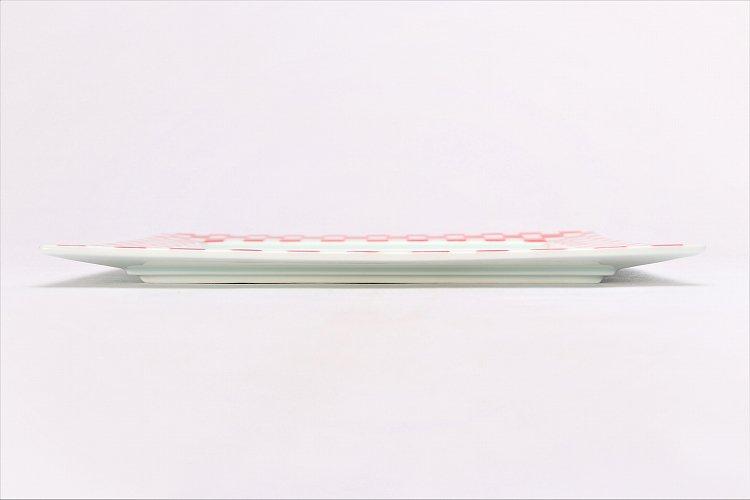 赤ゴス市松 25cm角プレート 画像サブ1