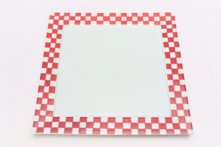 赤ゴス市松 25cm角プレート 画像サブ2