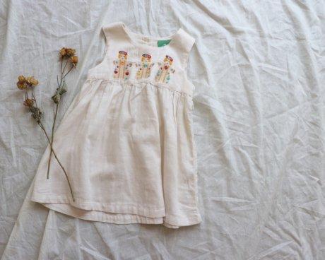 100%オーガニックコットン Dancers刺繍 ドレス
