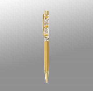 ハーバリウムボールペン完成品・ゴールド(UVレジンタイプ)
