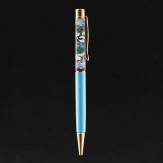 ハーバリウムボールペン限定品・ターコイズ(UVレジンタイプ)