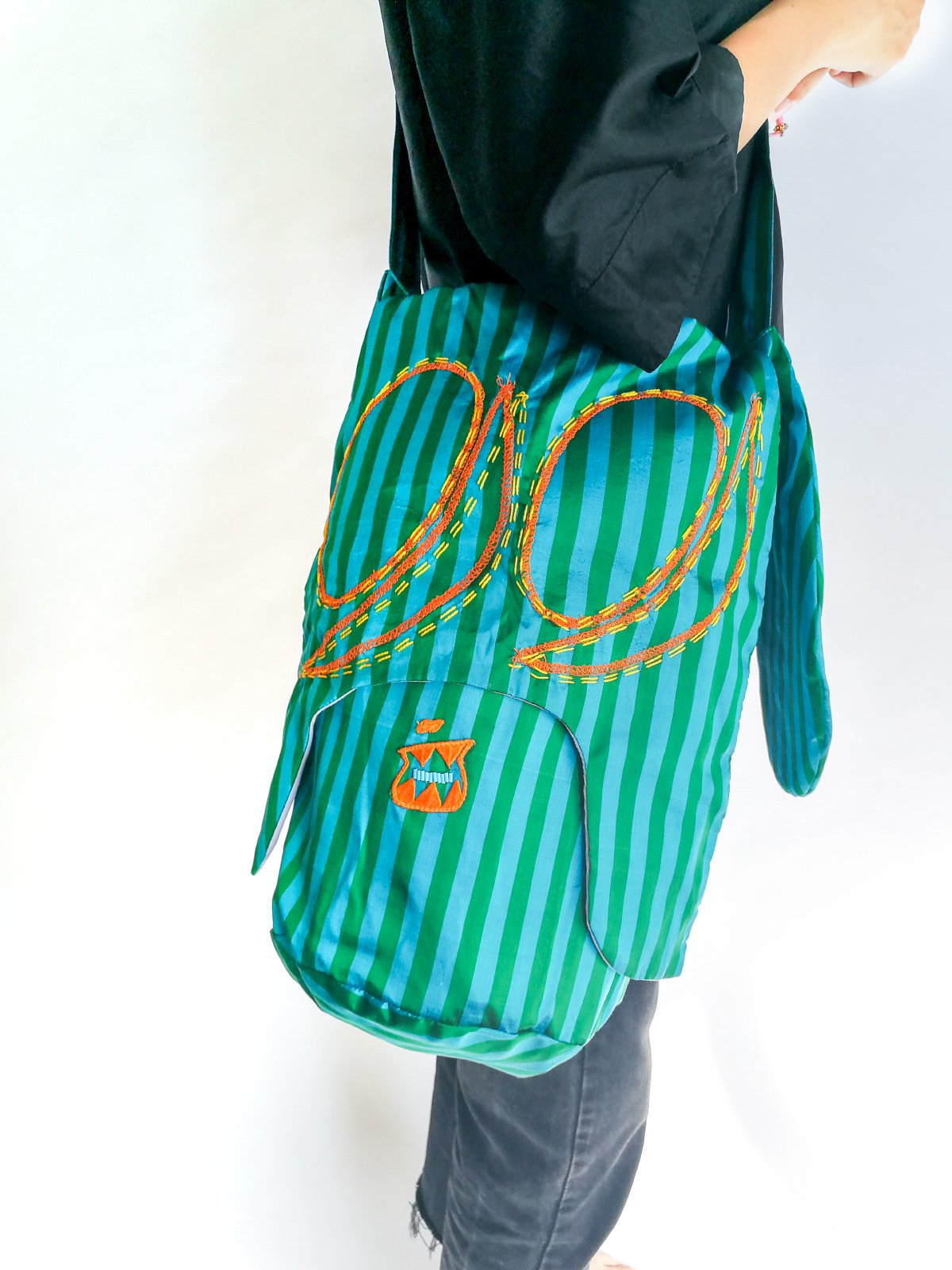 Skoloct Bag (hand stitch) / green × blue