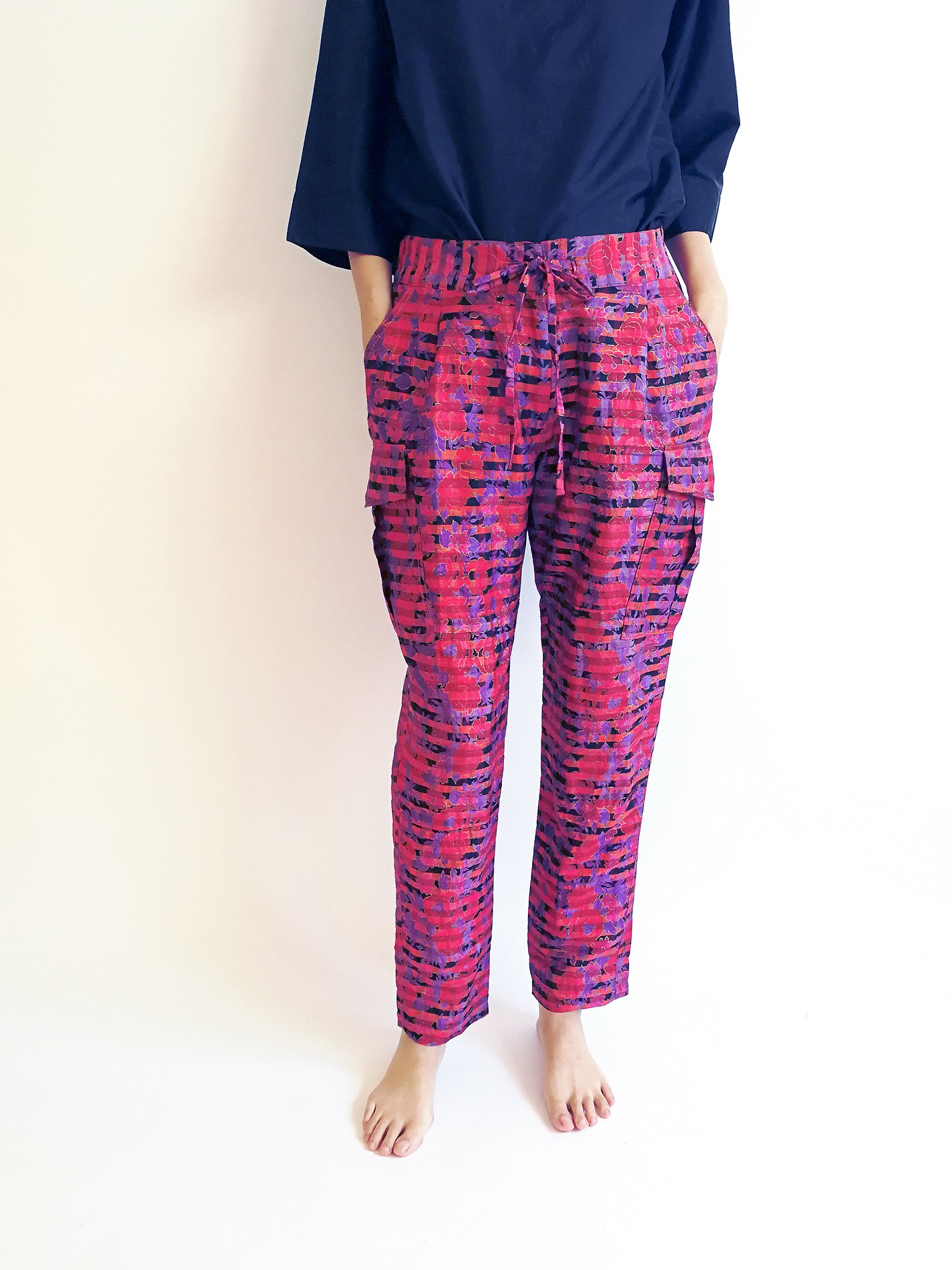 Cargo Pants / checked flower