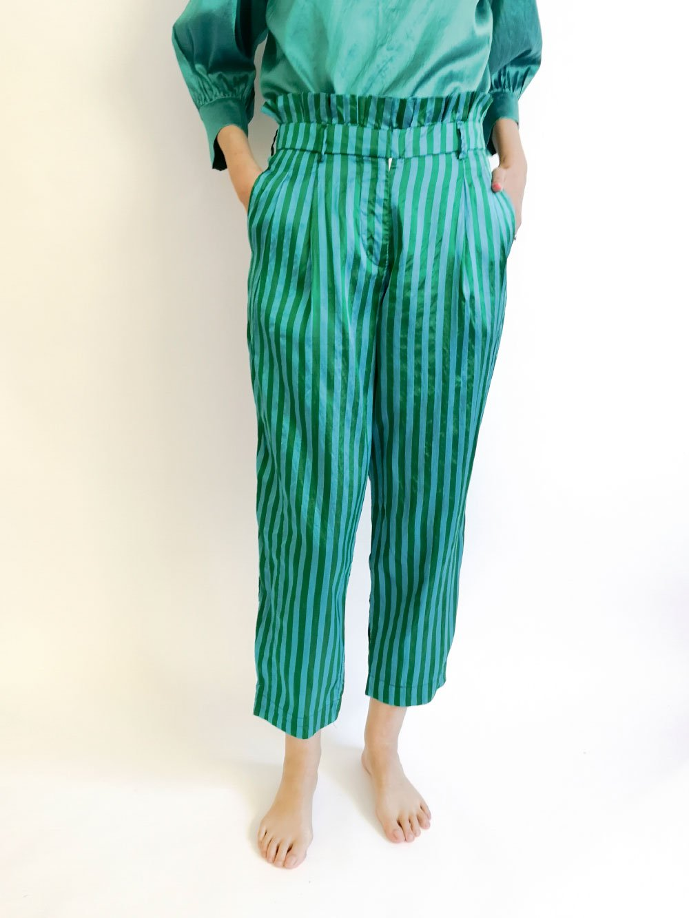Tucked Pants / blue × green