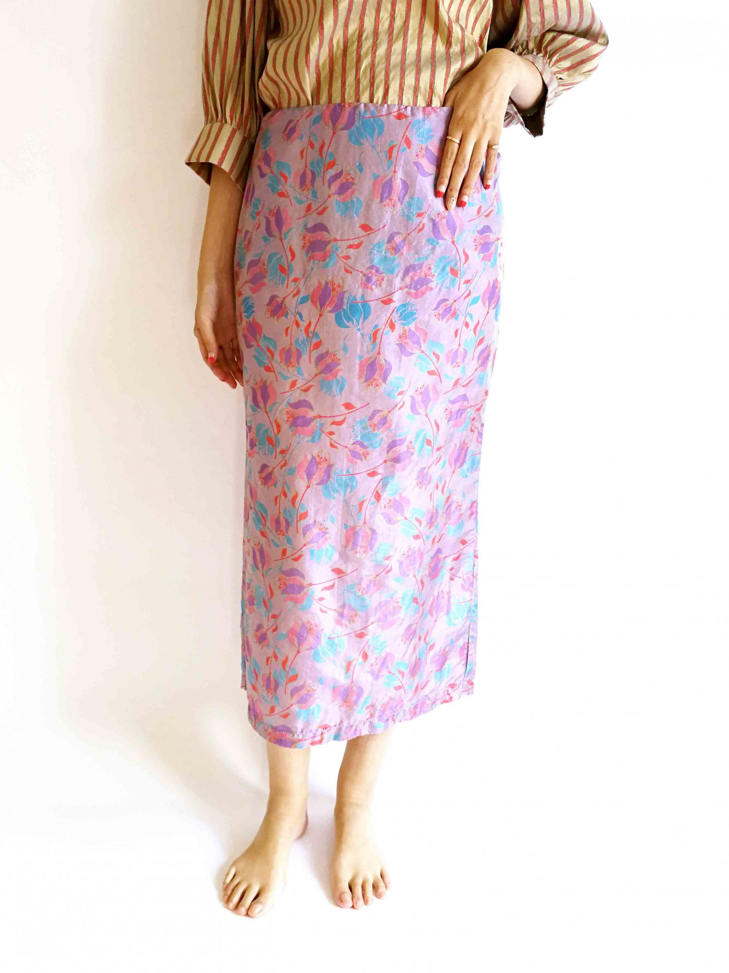 Pencil Skirt / purple flower