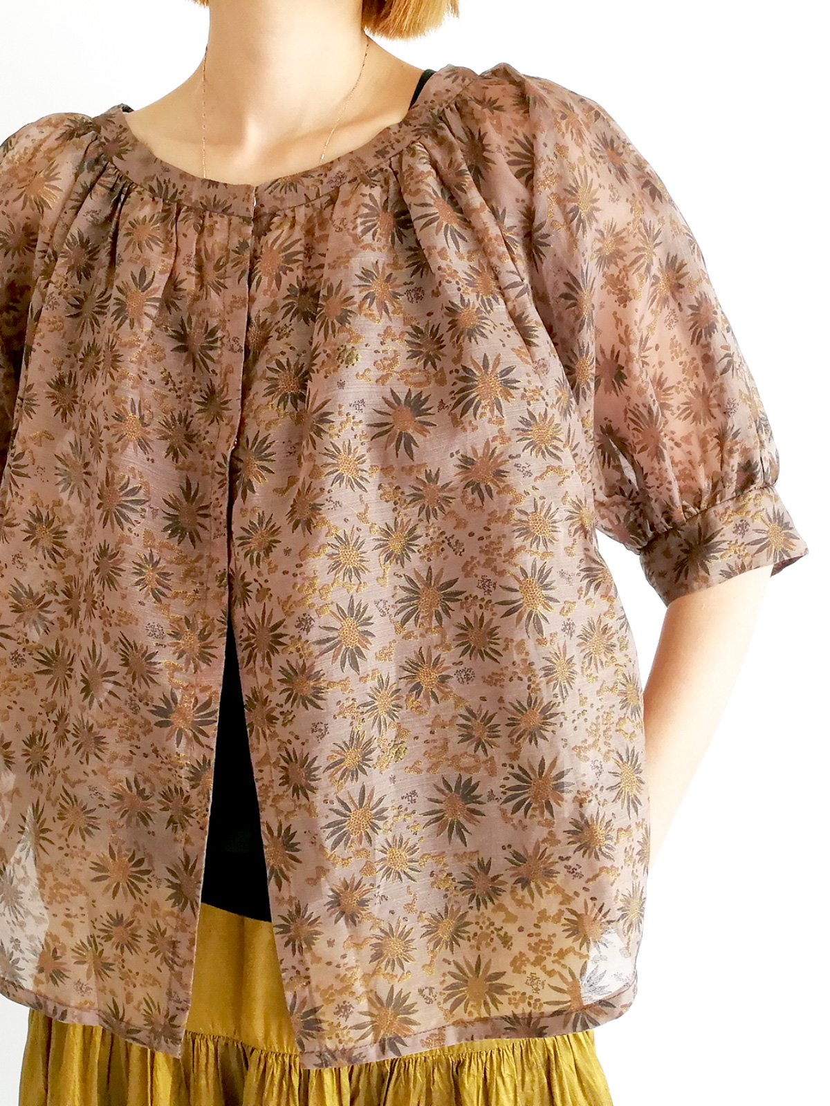 Balloon Cardigan (silk)  / brown