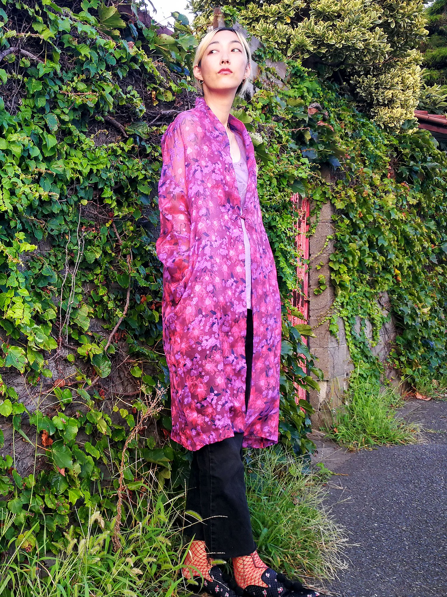 China Robe / purple pink flower
