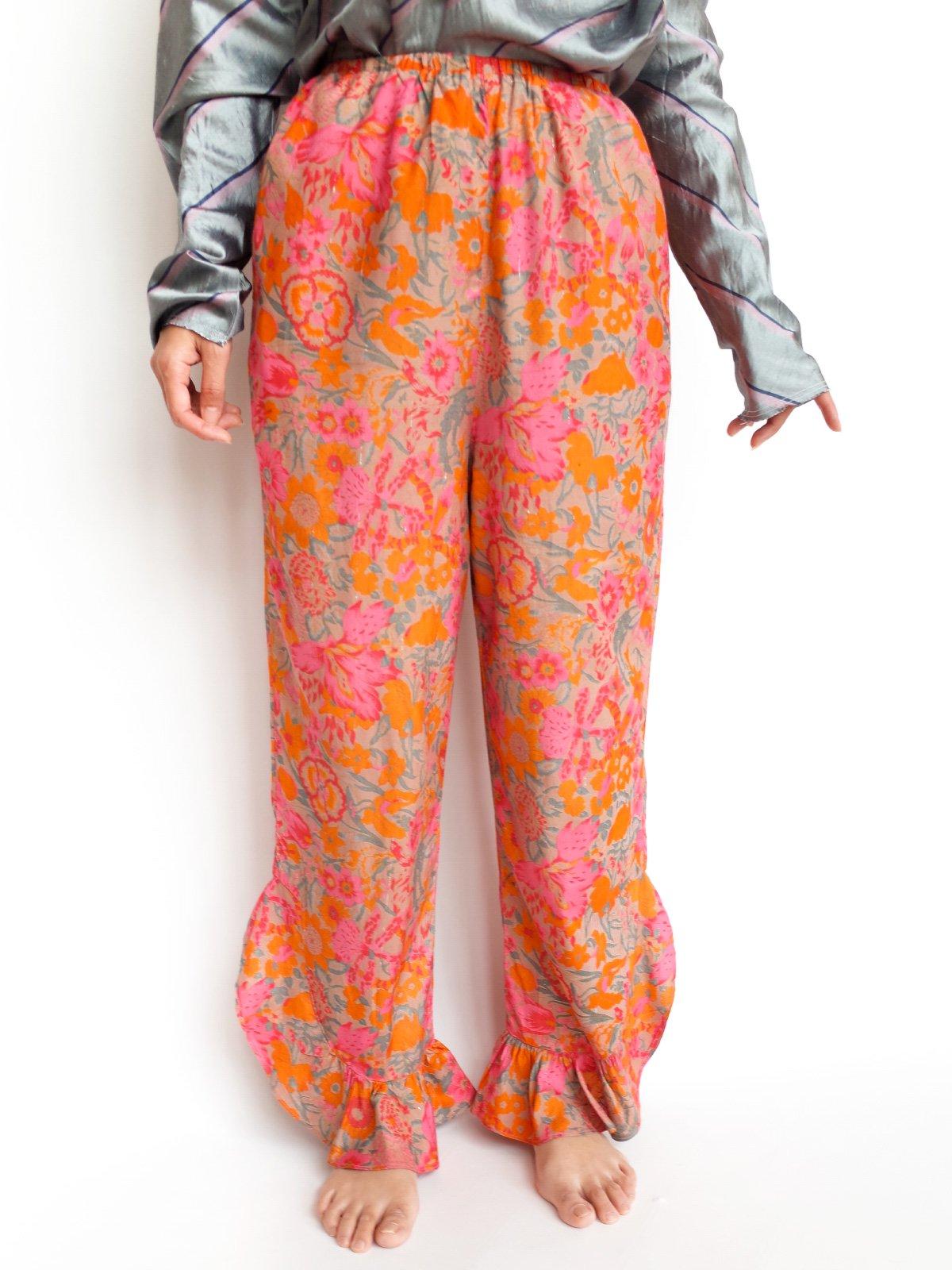 Fin Frill Pants / beige flower