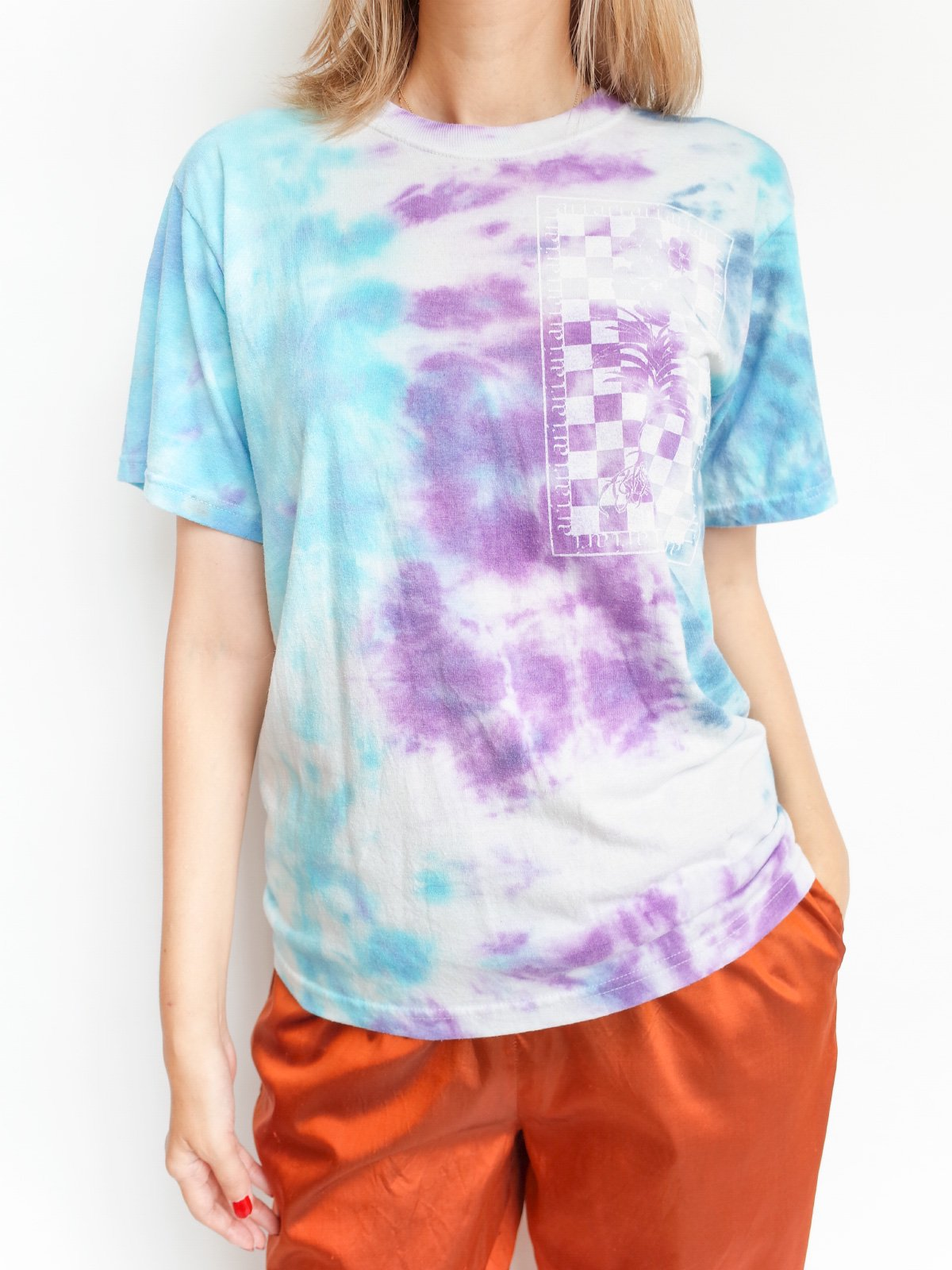2nd Hand Print T / tie dye purple × blue